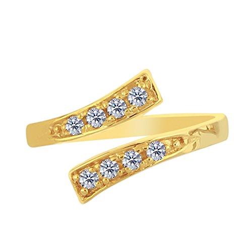 JewelryAffairs 14K Gelb Gold Crossover Zehenring mit CZ Stones von Pass Stil verstellbar