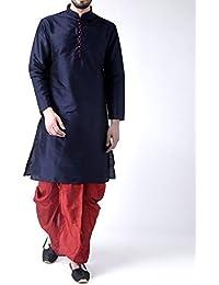 Royal Kurta Men's Silk Blend Loop Button Kurta and Dhoti Set