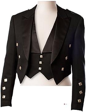 Men's Prince Charlie Kilt Jacket 3 Button Waistcoat 100% Wool Black Size 40inch - 101.5cm Regular