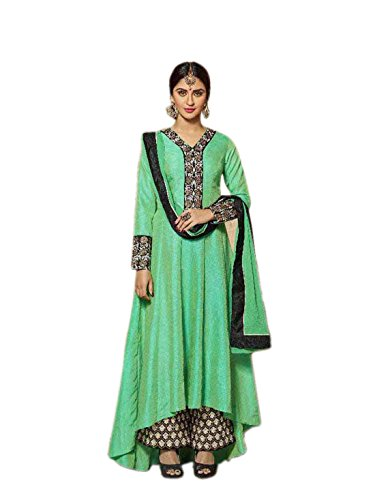 Shoppingover Indian ethnic Fashionable New Style embroidered Salwar Kameez for Women-Green Color