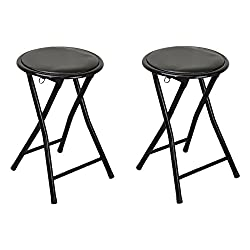 Harbour Housewares Round Compact Folding Stool - Black - Pack Of 2