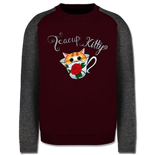 Katzen - Teacup Kitty - Herren Baseball Pullover Burgundrot/Dunkelgrau meliert