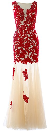 MACloth Women Mermaid Lace Long Formal Prom Evening Gown Wedding Party Dress Burgundy