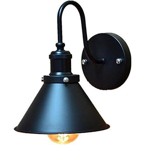 FWEF Lron paraguas negro falda lámpara balcón antiguo retro iluminación LED lámpara de pared