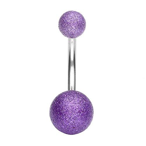 PiercingJ - Anneau Clou de Nombril Ventre Barbell avec Double Rond Ball Boule Mat Cristal Barres de Piercing Bananes Acier Inxoydable Bijoux de Corps Violet