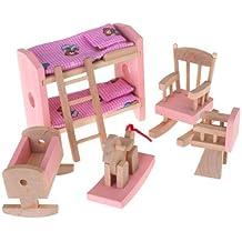 Gleader Conjunto De Habitacion Mueble De Madera Para Casa De Munecas Juguete Ninos