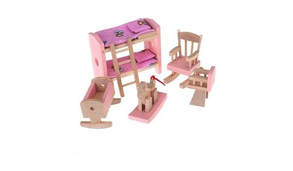 Etagenbett Puppenstube : Set bewegliche zimmer kindern miniatur holzspielzeug möbel für