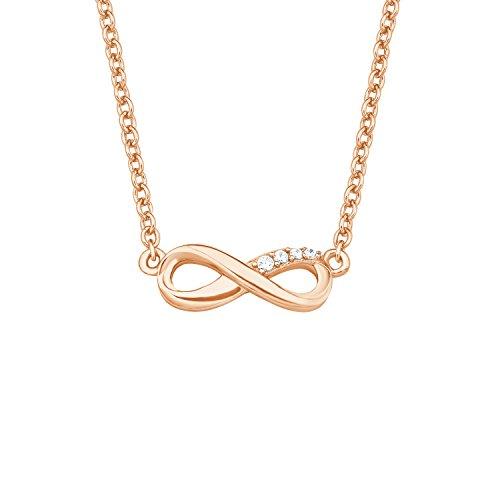 s.Oliver Damen-Kette 45 cm So Pure mit Infinity Anhänger 925 Sterling Silber rosévergoldet Zirkonia weiß
