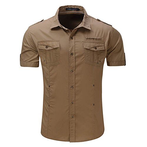 Mena Uk Camicia a maniche corte in cotone a maniche per abiti da lavoro Plain Color S-XXL Khaki