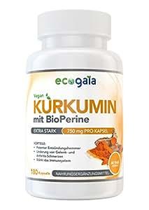 Kurkuma Curcumin mit Bioperine | 2250 mg Tagesdosis | 180 vegane Kurkumin Kapseln | Bio-Zertifikat | Natürliche Antioxidantien