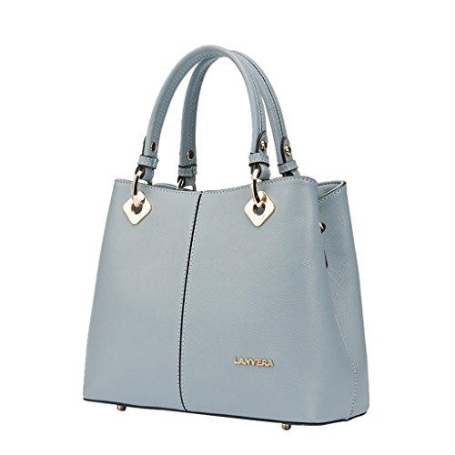 Mena UK Lichee modello di qualità delle donne Genuine primo strato di borsa della borsa della spalla di grande borsa del sacchetto di Tote (nero) ( Colore : Bianco , dimensioni : 26cm*20cm*12cm ) Grey Blue