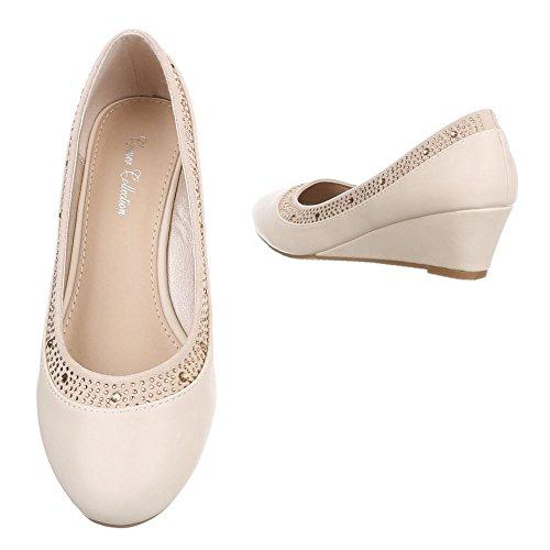 Ital-design - Chaussures Plateforme Femme Beige