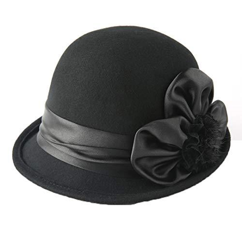 GOUNURE Damen Roll-Up Krempe Top Fedora Hüte Retro Wollfilz Jazz Cap Damenmode Trilby Church Hut mit charmanten Bogen -