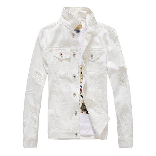 Yiiquan uomo autunno moda classics sottile denim jacket giacca casuale cappotto bianca 2xl
