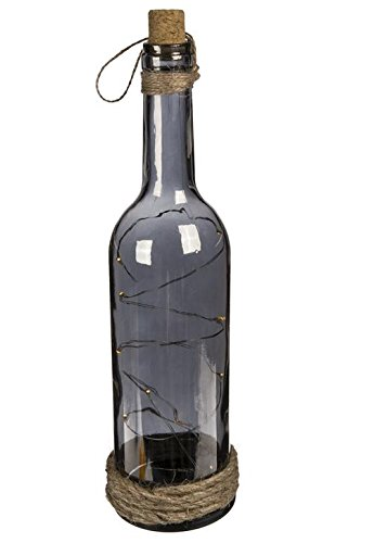OOTB Smoked Glas Flasche mit 10warm weiße LEDs, 30x 7cm Flasche Gläser