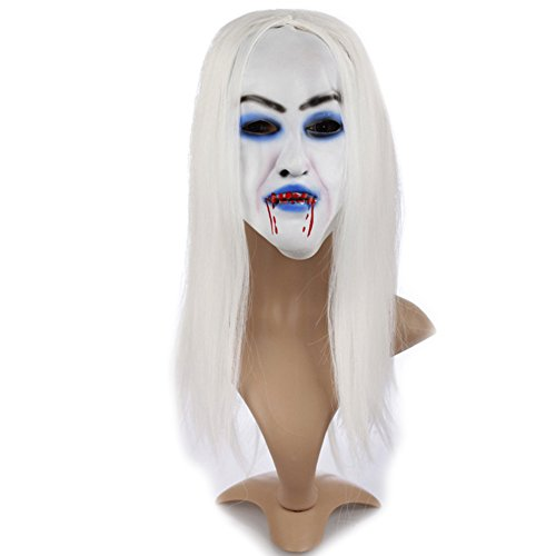 ARTSTORE Latex Horror Gruseln Weiß Haar Hexe Maske, Scary Toothy Zombie Halloween Party Requisiten Stil 1 (Einfach Scary Halloween Requisiten)