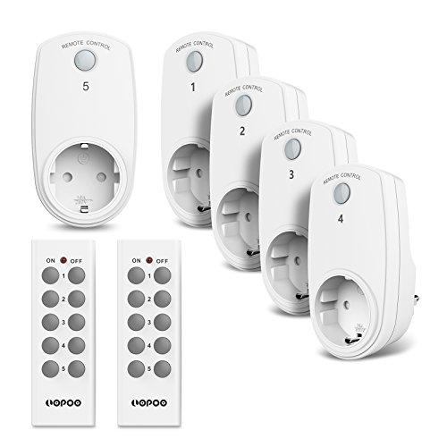 LOPOO Funksteckdosen Set Smart Steckdose aus 5 x Funksteckdosen und 2 x Fernbedienung 30m Reichweite Steuerung ( mit 2 Remote )