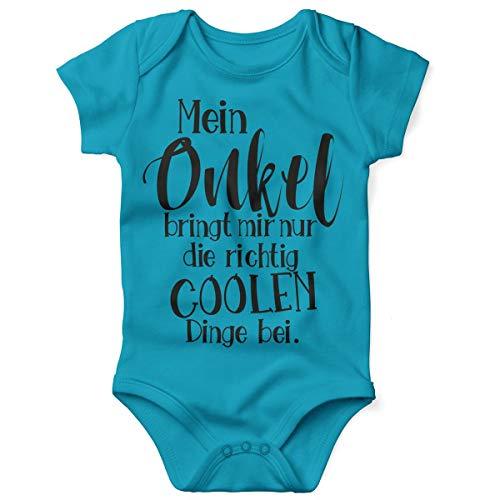 t Spruch für Jungen Mädchen Unisex Kurzarm Mein Onkel bringt Mir nur die coolen Dinge bei   handbedruckt in Deutschland   Handmade with Love, Farbe:Atoll, Grösse:86/92 ()
