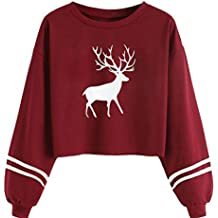 Christmas Sweatshirt Kangrun Sports Circles Long Sleeve Raw Edge Oversized Hooded Deer Print Sweatshirt Crop Top Blouse Cute Ladies Solid Color Pullover Cropped Shirt Plain Jumper