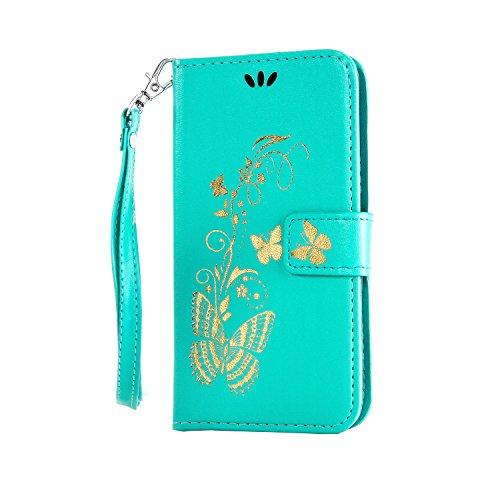 Anlike Microsoft Lumia 640 / Nokia N640 (5,0 Zoll) Hülle, Schutzhülle für Microsoft Lumia 640 / Nokia N640 (5,0 Zoll) Wallet Tasche [Butterfly geprägte Serie Bronzing] Handyhülle - Grün
