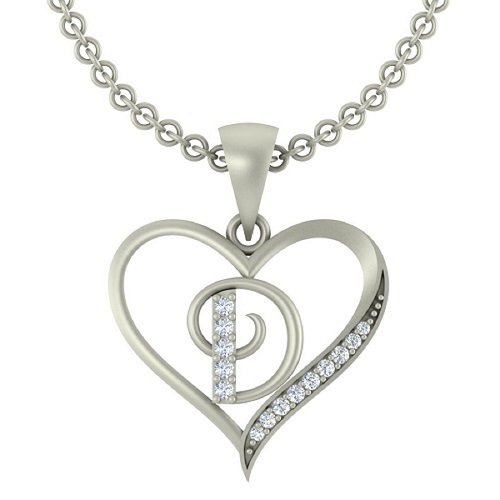 "Kanak Jewels Initial Letter ""D"" In Heart Shaped With Chain Silver Plated Cubic Zirconia Brass Pendant For Everyone"