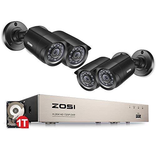 ZOSI CCTV HD 720P Überwachungskamera System Video Überwachungsset 8CH TVI 1080N DVR Recorder mit 4 Außen 1.0MP 720P Sicherheit Kamera, 20M IR Nachtsicht, 1TB Festplatte -