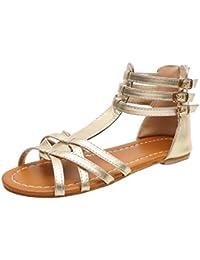 Sandalias de Moda de Verano para Mujer Correa con Hebilla Leopardo Plano Sandalias Retro Peep Toe