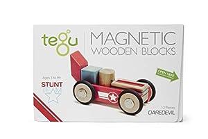 Tegu - Juego de Bloques de Construcción de Madera magnéticos Equipo Acrobacias - Daredevil Temerario - 12 Piezas