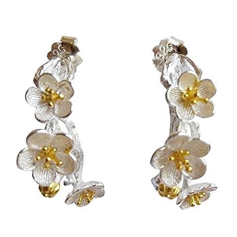 Welwel Frauen Plum Blume Ohrringe Halskette Armband Ringe Set 100
