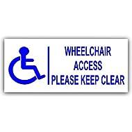 200mm Acceso silla de ruedas externo Tenga transparente sticker-blue en white-disability-disabled de movilidad señal adhesiva
