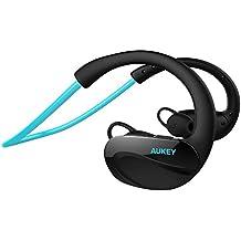 AUKEY Auricular Deportivos Bluetooth 4.1 Auricular Inalámbrico con Micrófono Resistente al Sudor Compatible con iPhone 6s, 6s Plus, SE, Samsung, HTC,etc ( azúl)