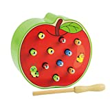 STOBOK Magnetisch Spielzeug Holz Wurm Fangen Spiel Apfel Form Lustiges Magnetspiel Kinder Motorikspielzeug für Kinder