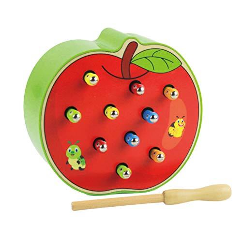 STOBOK Magnetisch Spielzeug Holz Wurm Fangen Spiel Apfel Form Lustiges Magnetspiel Kinder Motorikspielzeug für Kinder (äpfel Zu äpfel Kinder)