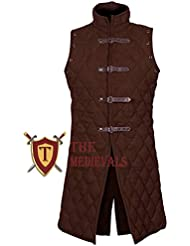 The Medieval Shop Gambeson Thick Padded Coat Aketon Jacket Armor - Brown Cotton Fabrics