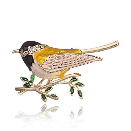 Fliyeong Premium Strass Emaille Oriole Vogel Zweig Pins Broschen für Männer Frauen Anzüge Kleid Bankett Brosche Giftblack (Pin Brosche Vogel)
