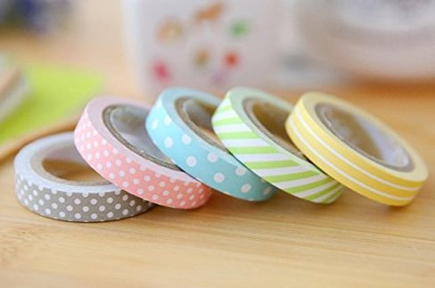 Liroyal a set of 5pcs Tapes Mix Designs Adhesive Tape Set for Scrapbooking/Craft