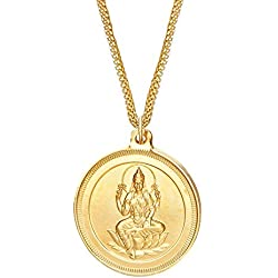 Shining Jewel 24K gold Plated Lakshmi Coin Pendant and Necklace (SJ_2162)