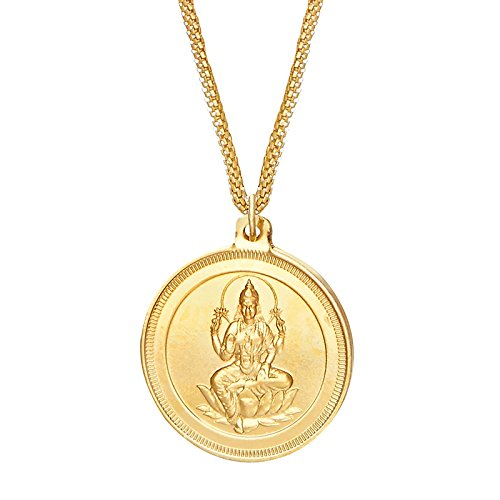 Shining Jewel 24K gold Plated Lakshmi Coin Pendant and Necklace (SJ_2162)  available at amazon for Rs.214