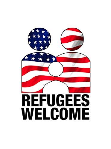 Hat Shark Vinyl Kunstdruck-Poster 18x 24Flüchtlinge Welcome Anti Trumpf