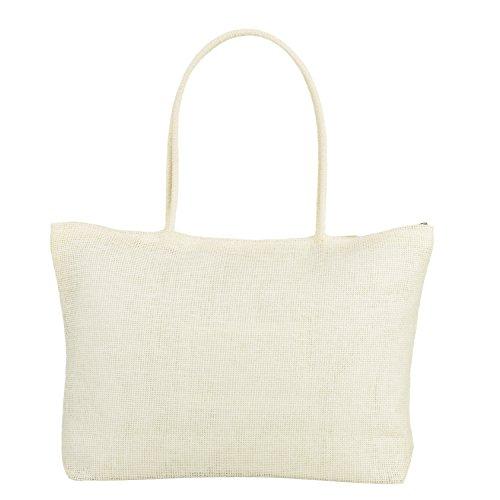 Klassische Webart-gewebe (RdChicLog Frauen häkeln Stroh Strand Umhängetasche Tote Shopping Handtasche für Sommerferien (Weiss))