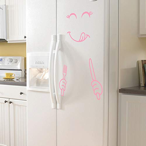 DE Cyber Monday DE,Cute Sticker Fridge Happy Delicious Face Kitchen Fridge Wall Stickers Art ()