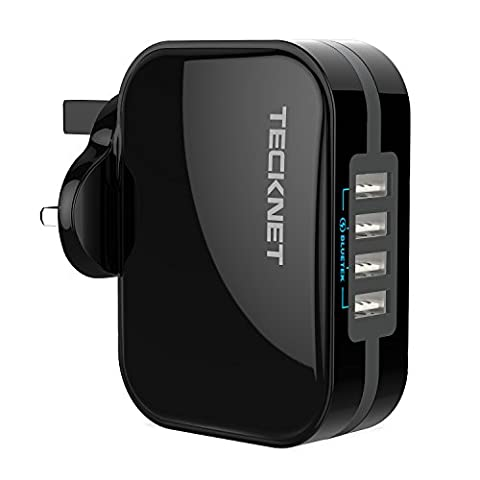 USB Wall Charger TeckNet 4 Port USB Charger Plug PowerZone C4 Travel Adapter 36W/5V 7.2A With BLUETEK Smart Charging For Apple iPhone 7 / 6 / 6 Plus, iPad Air 2 / Mini 5, iPad Pro, Samsung Galaxy S8, Nexus, and More
