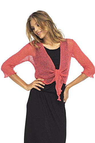Back From Bali Womens Sheer Shrug Cardigan Lightweight Knit Tie Front Korallenrot