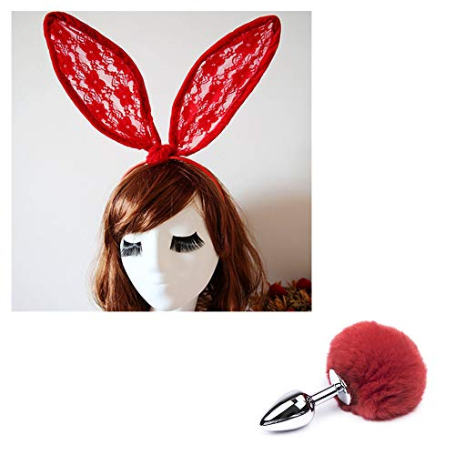 rgfhtyrgyh Rote Spitze Hasenohren Stirnbänder Haarbänder Maske Schleier Bunny Tail Kostümzubehör (Bunny Tail Kostüm Zubehör)