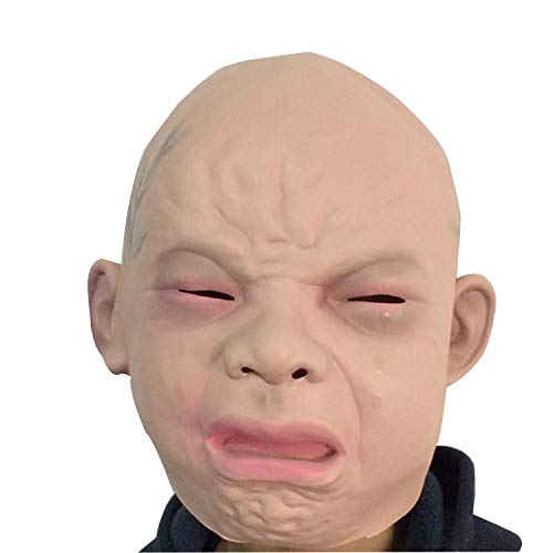 Full House Kostüm - Realistische Weinen Baby Maske Full Head Halloween Kostüm Weinen Gesicht Baby Kopf Haunted House Horror Maske,Crying face Baby Headgear-OneSize