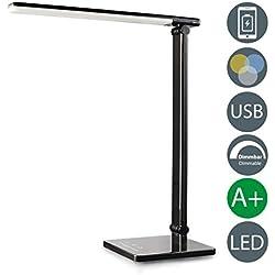 Lampada da tavolo LED touch, lampada da scrivania dimmerabile su più livelli, luce regolabile calda, neutra o fredda, porta USB per ricaricare lo smartphone, da comodino, plastica nera, 230V, 500Lm