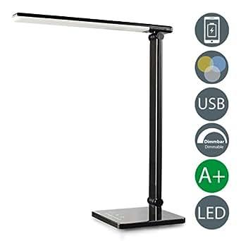 LED Schreibtischleuchte 5W | Tischleuchte dimmbar | Nachttisch-Leuchte faltbar inkl LED-Leuchtmodul | 7 Helligkeitsstufen 5 Farbtemperaturen | Touch Control | 500lm