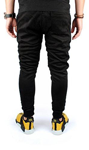 FiveSix Herren Jogginghose Freizeithose Sporthose Trainingshose Fitnesspants Gesteppt Sweatpants Hose Schwarz