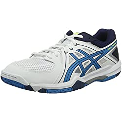 Asics Gel Task - Zapatillas de voleibol Hombre, Blanc (White/Blue Jewel/Safety Yellow), 43.5 EU