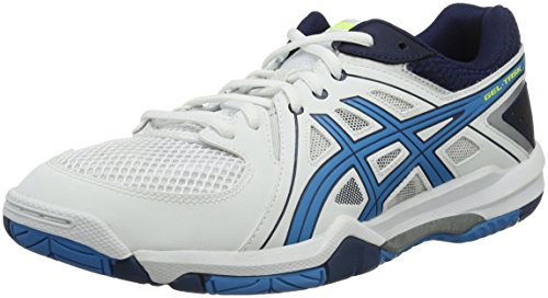 Asics Herren Gel Task Volleyballschuhe, Blanc (White/Blue Jewel/Safety Yellow), 43.5 EU